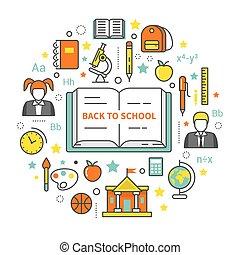 schoolers, school, concept, kunst, iconen, set., back, onderwijs, vector, dune lijn, boek