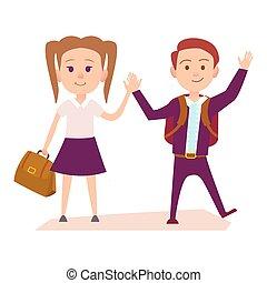schoolgirl, aluno, ter, ilustração, mãos