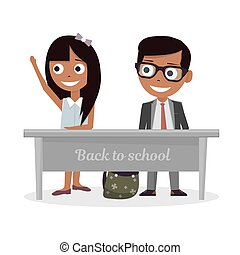 Schoolgirl and schoolboy sitting at Desk and raise my hand...