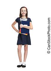 Schoolgirl and the books