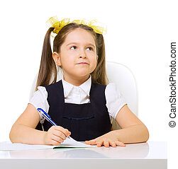 Schoolgirl at her desk