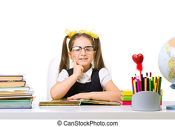 Schoolgirl at the table