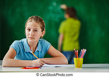Schoolgirl at workplace