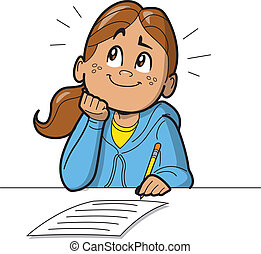 schoolgirl, boeiend, test