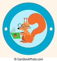 schoolgirl, boek, squirrel, lezende