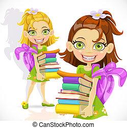 schoolgirl, boekjes , stapel