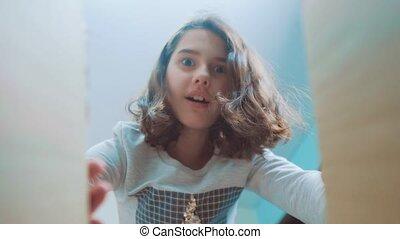 schoolgirl cexperiencing joy happiness surprise. emotion...