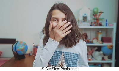 schoolgirl cexperiencing joy happiness surprise. emotion positive concept children. slow motion video. girl teen surprised with joy happiness ecstatic in lifestyle disbelief emotional expression thrilled. kids girl Surprised concept