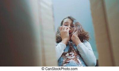 schoolgirl cexperiencing joy happiness surprise lifestyle ....
