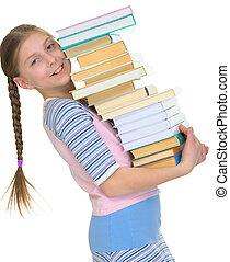 schoolgirl, com, a, grande, pilha livros, em, mãos