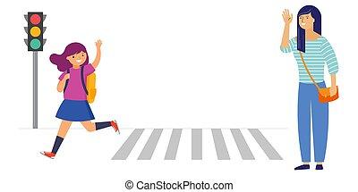 Schoolgirl crossing a road on her way to school, mother saying goodbye. Crossing the road safely concept illustration.