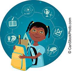 Schoolgirl - Cute cartoon black school girl with a backpack...