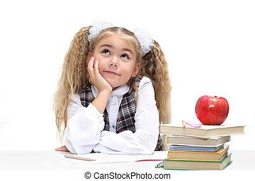 Schoolgirl dreaming - Portrait of schoolgirl dreaming...