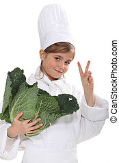 schoolgirl dressed as a cook