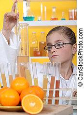 schoolgirl dressed as biologist