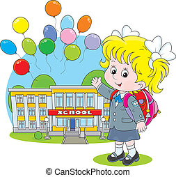 Schoolgirl - Elementary school student with a schoolbag ...