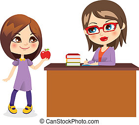 schoolgirl, en, leraar