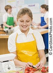 schoolgirl, escola, cozinhar, classe