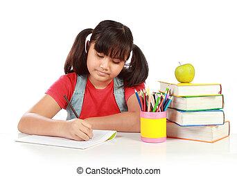 schoolgirl, escrita, algo