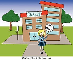 schoolgirl, frente, um, school.
