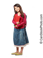 schoolgirl, glücklich