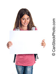 Schoolgirl holding blank paper - Schoolgirl with backpack...