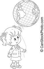 Schoolgirl holds a globe - balloon - Elementary school...