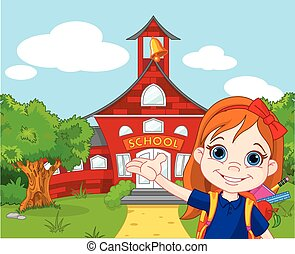 Schoolgirl - Illustration of schoolgirl goes to school
