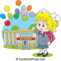 Schoolgirl - Elementary school student with a schoolbag...