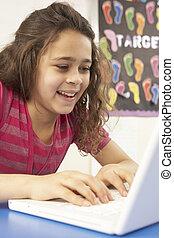 Schoolgirl In IT Class Using Computer With Teacher