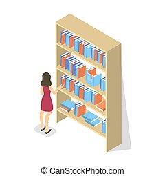 Schoolgirl in library choose book on bookshelf.