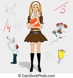 schoolgirl in vector format
