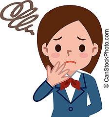 Schoolgirl is confused - Vector illustration.