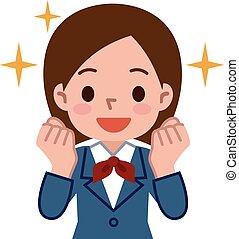 Schoolgirl is motivated - Vector illustration.
