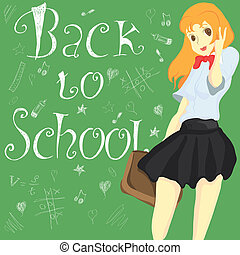Schoolgirl is standing on a board