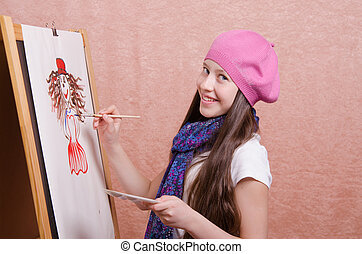 schoolgirl, les, tekening