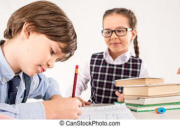 Schoolgirl looking at classmate
