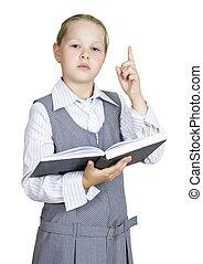 schoolgirl, met, een, boek, op wit, achtergrond