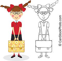 schoolgirl, mit, aktentasche
