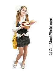 schoolgirl, mit, buecher
