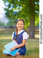 schoolgirl, mit, copybooks