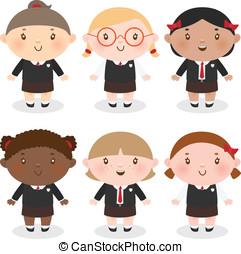 schoolgirl, multi-étnico