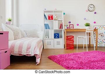schoolgirl, ontwerp, kamer