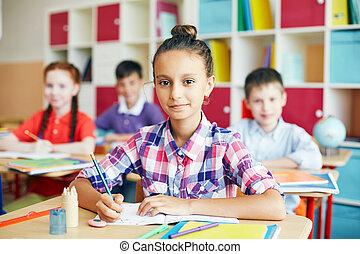 schoolgirl, op, les