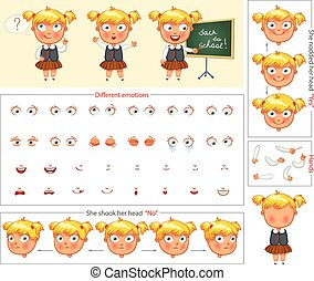 Schoolgirl. Parts of body template for design work and...