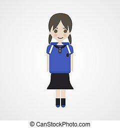 schoolgirl, personagem, feliz