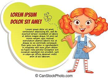 schoolgirl, poster, wijzende