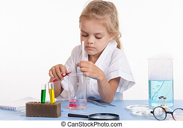 Schoolgirl pouring red liquid a flask in chemistry class