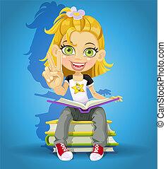 schoolgirl read a books - schoolgirl read on a pile of books...