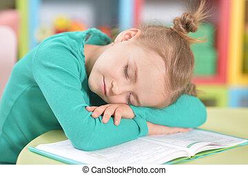 schoolgirl, retrato, estudar, após, dormir, cute, cansadas